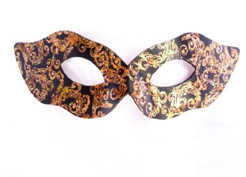 Exclusive Design Ladies Genuine Handmade Petite Gold & Black Embellished Leather Mask (b